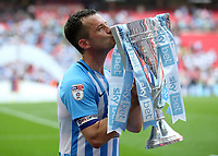 28th May 2018, Wembley Stadium, London, England;  EFL League 2 football, playoff final, Coventry City versus Exeter City; Michael Doyle of Coventry City kissing the EFL League 2 trophy