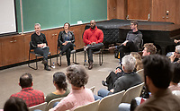 Panel from left: Broderick Fox, Dyana Winkler, Jongnic Bontemps and Adam Schoenberg<br /> Music-MAC Panel Discussion: United Skates<br /> From Queen Latifah, Salt-N-Pepa and Naughty by Nature in New York/New Jersey to Dr. Dre and Ice Cube in Los Angeles, roller rinks have long been a mecca for music and creativity. With an average of three rinks closing a month, UNITED SKATES takes a deep dive into the vibrant and celebratory world of African American roller skating.<br /> Director Dyana Winkler and composer/Oxy instructor Jongnic Bontemps presented an exclusive partial screening of the film in advance of its February HBO premiere. Examining the interplay between film and music in storytelling, this panel discussion was moderated by Music and MAC Department Professors Adam Schoenberg and Broderick Fox. Mixer in the Booth Hall courtyard and panel in Booth Hall Room 204, Jan. 29, 2019.<br /> (Photo by Marc Campos, Occidental College Photographer)