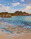 Virgin Gorda, British Virgin Islands, Caribbean <br /> Sunset light on the beach at Spring Bay, Spring Bay National Park