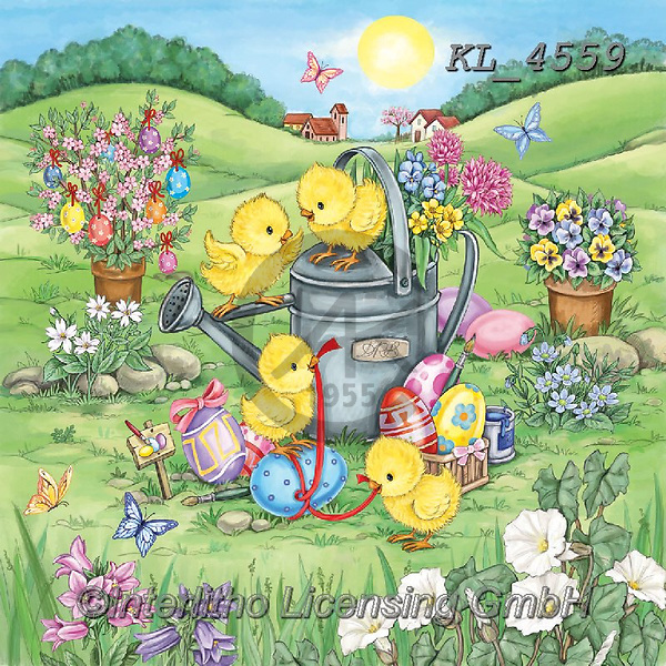 Interlitho-Dani, EASTER, OSTERN, PASCUA, paintings+++++,chicks, water can,KL4559,#e#, EVERYDAY