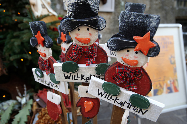 Christmas decorations on the market stalls - Saltzburgh Christmas market - Austria