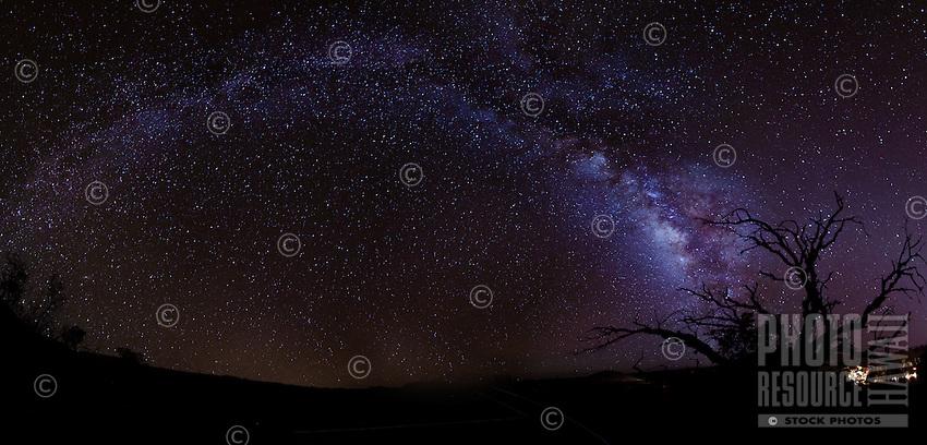 A glowing Milky Way on a starry night on Mauna Kea, Big Island.