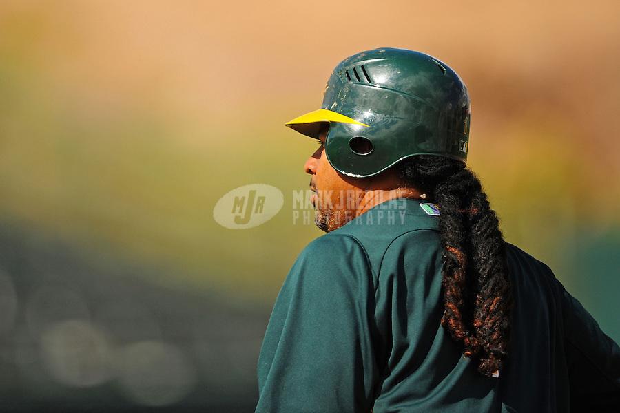Mar. 19, 2012; Phoenix, AZ, USA; Oakland Athletics designated hitter Manny Ramirez in the fifth inning against the Arizona Diamondbacks during a spring training game at Phoenix Municipal Stadium.  Mandatory Credit: Mark J. Rebilas-