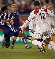 James Riley (Revolution) scores after receiving head pass from Taylor Twellman. James Riley was player of the match. The NE Revolution defeated NY Metro Stars, 1-0, on September 24 at Gillette Stadium.