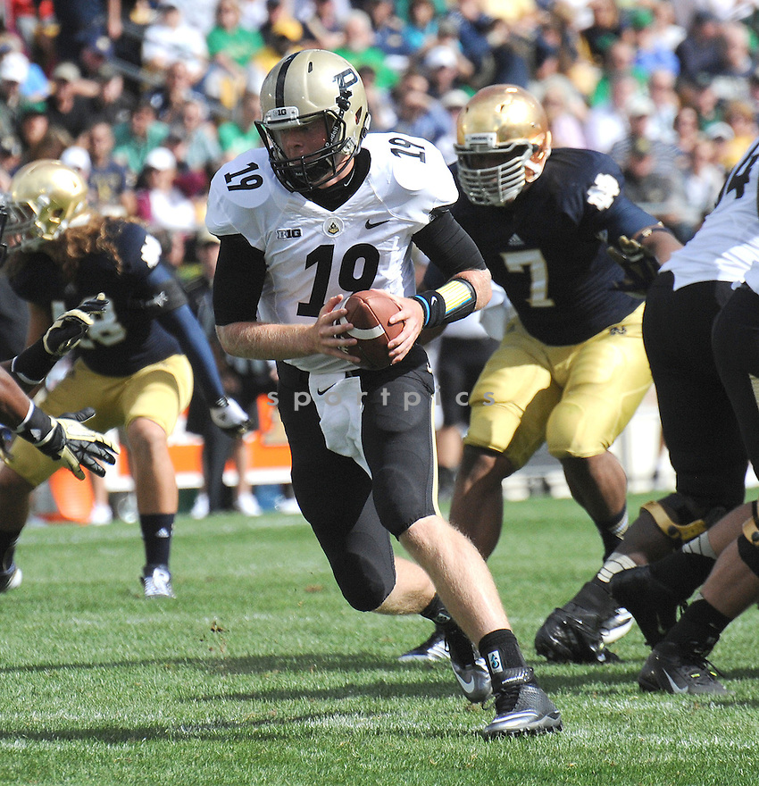Purdue Boilermakers Caleb Terbush (19) in action during a game against Notre Dame on September 8, 2012 at Notre Dame Stadium in South Bend, IN. Notre Dame beat Purdue 20-17.