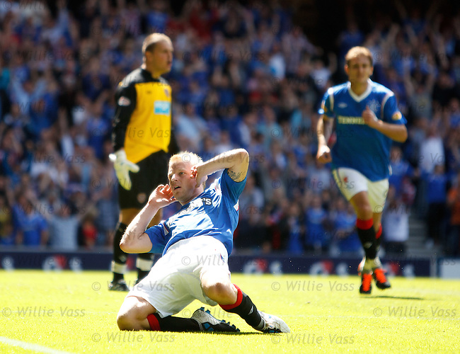 Steven Naismith heads in the equalising goal for Rangers and holds his head to celebrate to the Rangers fans