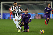 9th February 2018, Stadio Artemio Franchi, Florence, Italy; Serie A football, ACF Fiorentina versus Juventus; (L-R) Gonzalo Higuain of Juventus is tackled by Davide Astori of Fiorentina