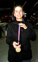 Birmingham, Great Britain, Stephanie O'NEILL, with the last medal of the day, after presenting 220 medals,  during the day.  2008 British Indoor Rowing Championships, National Indoor Arena. on  Sunday 26.10.2008 .   [Photo, Peter Spurrier/Intersport-images] ..