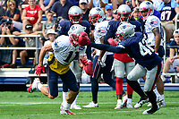 August 2, 2017: New England Patriots wide receiver Julian Edelman (11) gets covered by cornerback Kenny Moore II (42) during a drill at the New England Patriots training camp held at Gillette Stadium, in Foxborough, Massachusetts. Eric Canha/CSM
