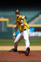 Missouri Tigers relief pitcher Ben Pedersen (17) in action against the Oklahoma Sooners in game four of the 2020 Shriners Hospitals for Children College Classic at Minute Maid Park on February 29, 2020 in Houston, Texas. The Tigers defeated the Sooners 8-7. (Brian Westerholt/Four Seam Images)
