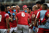 Kurt Morath of Tonga speaks to his team-mates during a break in play. Rugby World Cup Pool C match between New Zealand and Tonga on October 9, 2015 at St James' Park in Newcastle, England. Photo by: Patrick Khachfe / Onside Images