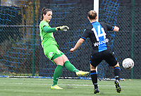 20191123 – BRUGGE, BELGIUM : Brugge's Nicole Studer pictured passing the ball during a women soccer game between Dames Club Brugge and K AA Gent Ladies on the ninth matchday of the Belgian Superleague season 2019-2020 , the Belgian women's football  top division , saturday 23 th November 2019 at the Jan Breydelstadium – terrain 4  in Brugge  , Belgium  .  PHOTO SPORTPIX.BE | DAVID CATRY