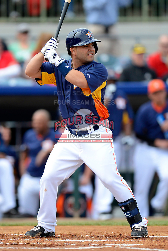 Houston Astros second baseman Jose Altuve #27 during a Spring Training game against the St. Louis Cardinals at Osceola County Stadium on March 1, 2013 in Kissimmee, Florida.  The game ended in a tie at 8-8.  (Mike Janes/Four Seam Images)