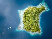 aerial view of tropical islands, West Waigeo, Raja Ampat Islands, West Papua, Indonesia, Pacific Ocean