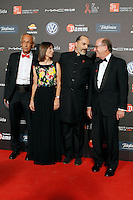 Dr. Bonaventura Clotet, Director of Fundacion Lucha Contra el SIDA and singer Miguel Bose with the President of REPSOL Antonio Brufau Niubo and his wife during Barcelona 5th AIDS Ceremony. November 24,2014.(ALTERPHOTOS/Acero) /NortePhoto<br />