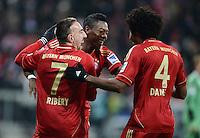FUSSBALL   1. BUNDESLIGA  SAISON 2012/2013   21. Spieltag  FC Bayern Muenchen - FC Schalke 04                     09.02.2013 Torjubel: Franck Ribery, David Alaba und Dante (v.l., alle FC Bayern Muenchen)