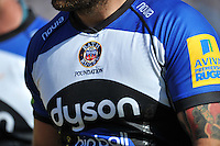 A general view of the Bath Rugby Foundation emblem on Matt Banahan's match jersey. Aviva Premiership match, between Bath Rugby and Gloucester Rugby on May 16, 2015 at the Recreation Ground in Bath, England. Photo by: Patrick Khachfe / Onside Images