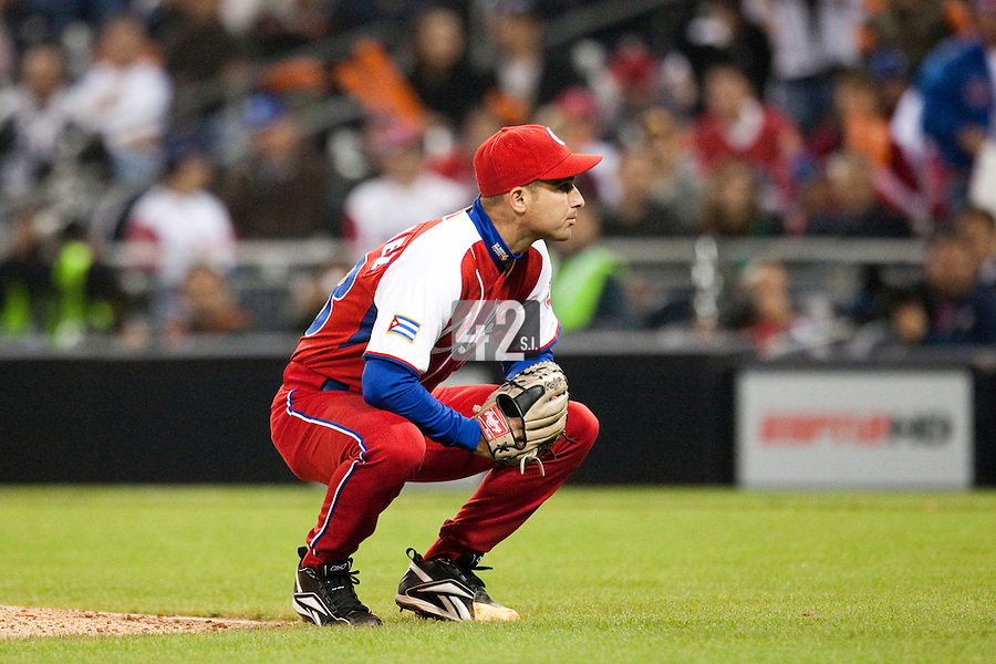18 March 2009: #48 Yulieski Gonzalez of Cuba looks dejected as he pitches against Japan during the 2009 World Baseball Classic Pool 1 game 5 at Petco Park in San Diego, California, USA. Japan wins 5-0 over Cuba.