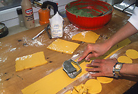 - Italian food , typical kitchen of the Emilia region, preparation of spinach and ricotta calzoncelli (stuffed pasta). Restaurant &quot;Da Ivan&quot; in Roccabianca (Parma)<br /> <br /> - Cibo italiano, cucina tipica della regione Emilia, preparazione dei calzoncelli di spinaci e ricotta. Ristorante &quot;Da Ivan&quot; di Roccabianca (Parma)