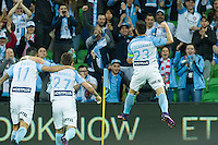 Melbourne, 10 November 2016 - BRUNO FORNAROLI (23) of Melbourne City celebrates his goal in the round 6 match of the A-League between Melbourne City and Newcastle Jets at AAMI Park, Melbourne, Australia. Melbourne won 2-1 (Photo Sydney Low / sydlow.com)