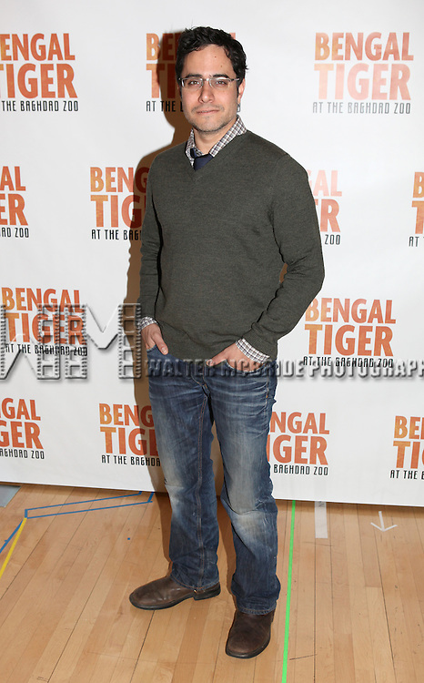 Playwright Rajiv Joseph.attend the 'Bengal Tiger at The Baghdad Zoo' Meet & Greet during Rehearsals at The New 42nd Street Studios in New York City.