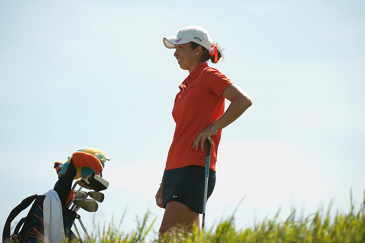 April 18, 2012; Hollister, CA, USA; Pepperdine Waves golfer Alina Ching during the WCC Golf Championships at San Juan Oaks Golf Club.