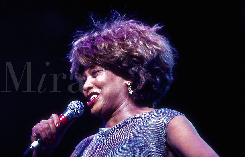Portrait of singer Tina Turner in concert.