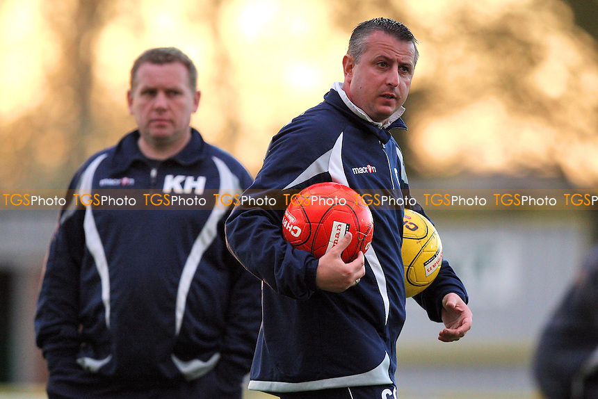 Aveley manager Carl Griffiths carries two footballs - Aveley vs Billericay Town - Essex Senior Cup Final at Ship Lane, Thurrock FC - 11/04/11 - MANDATORY CREDIT: Gavin Ellis/TGSPHOTO - Self billing applies where appropriate - Tel: 0845 094 6026