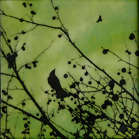 Green encaustic painting of bird in branches