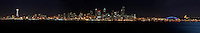 Panoramic of Seattle looking across Elliot Bay in Seattle Washington.