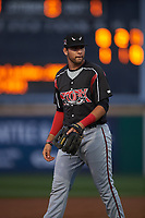 Lake Elsinore Storm third baseman Hudson Potts (15) during a California League game against the Rancho Cucamonga Quakes at LoanMart Field on May 19, 2018 in Rancho Cucamonga, California. Lake Elsinore defeated Rancho Cucamonga 10-7. (Zachary Lucy/Four Seam Images)