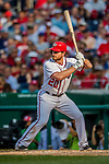 29 June 2017: Washington Nationals second baseman Daniel Murphy in action against the Chicago Cubs at Nationals Park in Washington, DC. The Cubs rallied against the Nationals to win 5-4 and split their 4-game series. Mandatory Credit: Ed Wolfstein Photo *** RAW (NEF) Image File Available ***
