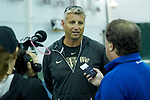 Wake Forest Demon Deacons head coach Tony Bresky answers questions from the media following the finals of the 2018 NCAA Men's Tennis Singles Championship at the Wake Forest Indoor Tennis Center on May 28, 2018 in Winston-Salem, North Carolina.  Petros Chrysochos defeated teammate Borna Gojo 6-3 6-3.  (Brian Westerholt/Sports On Film)