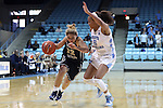 22 November 2016: Charleston Southern's Breannah Bretches (22) and North Carolina's Stephanie Watts (5). The University of North Carolina Tar Heels hosted the Charleston Southern University Buccaneers at Carmichael Arena in Chapel Hill, North Carolina in a 2016-17 NCAA Women's Basketball game. UNC won the game 93-77.