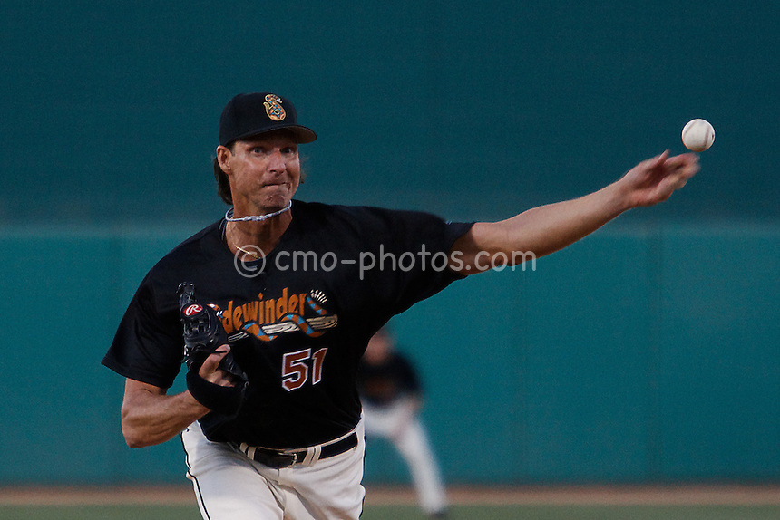 Apr 3, 2008; Tucson, AZ, USA; Arizona Diamondbacks pitcher Randy Johnson throws a pitch during a minor league start with the AAA Tucson Sidewinders at Tucson Electric Park. Johnson gave up 5 runs on 8 hits with 2 walks and one strikeout in four innings of work...