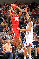 North Carolina State guard Ralston Turner (22) shoots in front of Virginia guard Malcolm Brogdon (15) during the game Wednesday Jan. 7, 2015 in Charlottesville, Va.