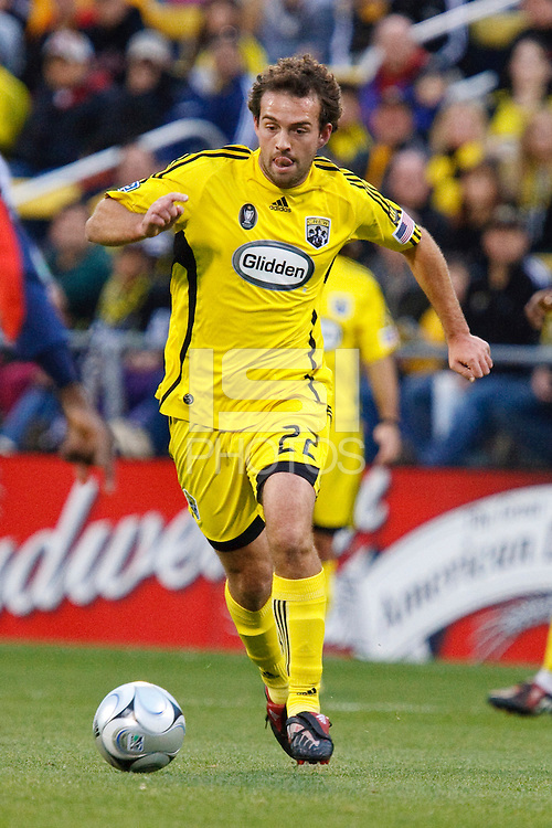 25 OCTOBER 2009:  Adam Moffat of the Columbus Crew (22) during the New England Revolution at Columbus Crew MLS game in Columbus, Ohio on October 25, 2009.
