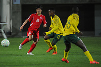 20190301 - LARNACA , CYPRUS : Korean Ri Pom Hyang (left) , South African defender Bambanani Mbane (middle) pictured during a women's soccer game between South Africa and Korea DPR , on Friday 1 March 2019 at the AEK Arena in Larnaca , Cyprus . This is the second game in group A for Both teams during the Cyprus Womens Cup 2019 , a prestigious women soccer tournament as a preparation on the Uefa Women's Euro 2021 qualification duels. PHOTO SPORTPIX.BE   STIJN AUDOOREN