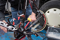 Big post-race bike clean at the finish of the last of the Spring Classics<br /> <br /> 103rd Liège-Bastogne-Liège 2017 (1.UWT)<br /> One Day Race: Liège › Ans (258km)