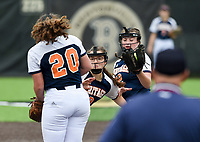 NWA Democrat-Gazette/CHARLIE KAIJO Rogers Heritage High School players reach for a fly ball during the 6A State Softball Tournament, Thursday, May 9, 2019 at Tiger Athletic Complex at Bentonville High School in Bentonville. Rogers Heritage High School lost to Northside High School 8-6