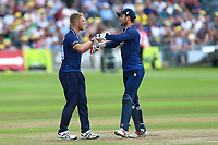 Jamie Porter of Essex is congratulated by his team mates after taking the wicket of Ian Cockbain during Gloucestershire vs Essex Eagles, NatWest T20 Blast Cricket at The Brightside Ground on 13th August 2017