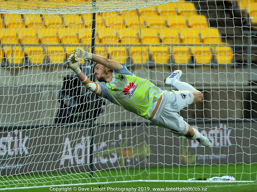 Filip Kurto makes a save during the A-League football match between Wellington Phoenix and Melbourne City FC at Westpac Stadium in Wellington, New Zealand on Sunday, 21 April 2019. Photo: Dave Lintott / lintottphoto.co.nz