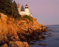 Sunset glow on the Bass Harbor Lighthouse; Acadia  National Park, ME