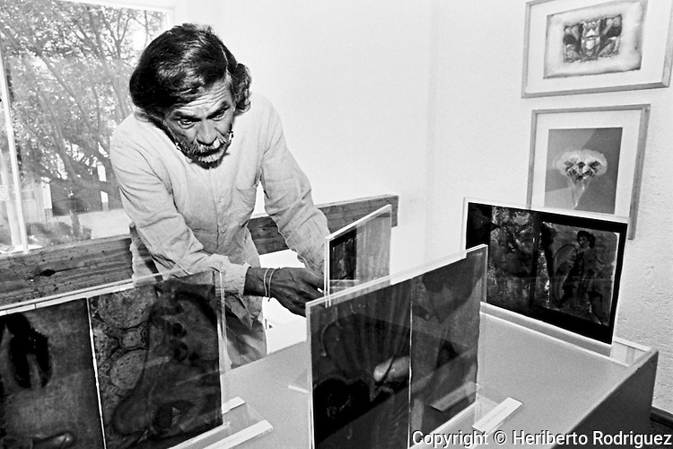 Oaxacan artist Francisco Toledo inspects his work prior to the inauguration of his exhibit Shadows of the Desire at the Galeria Juan Martin in Mexico city, October 3, 2000. Photo by Heriberto Rodriguez