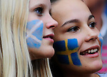 11TH AUG 2010, SWEDEN V SCOTLAND AT RASUNDA STADIUM, STOCKHOLM, FEMALE FANS WITH FLAGS PAINTER ON FACES, ROB CASEY PHOTOGRAPHY.