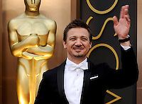 HOLLYWOOD, CA - MARCH 2: Jeremy Renner arriving to the 2014 Oscars at the Hollywood and Highland Center in Hollywood, California. March 2, 2014. Credit: SP1/Starlitepics. /NORTePHOTO