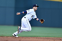 Shortstop Michael Paez (3) of the Columbia Fireflies in a game against the Augusta GreenJackets on Opening Day, Thursday, April 6, 2017, at Spirit Communications Park in Columbia, South Carolina. Columbia won, 14-7. (Tom Priddy/Four Seam Images)
