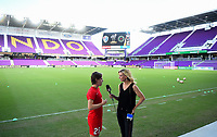 Orlando, FL - Saturday October 14, 2017: Meghan Klingenberg, Aly Wagner during the NWSL Championship match between the North Carolina Courage and the Portland Thorns FC at Orlando City Stadium.