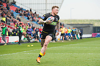 Picture by Allan McKenzie/SWpix.com - 07/04/2018 - Rugby League - Betfred Super League - Salford Red Devils v Warrington Wolves - AJ Bell Stadium, Salford, England - Warrington's Josh Charnley heads in for a try against Salford.