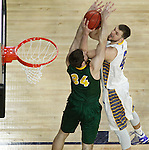 SIOUX FALLS, SD - MARCH 10: Ian Thiesen #42 from South Dakota State tries to get a shot off past Chris Kading #34 from North Dakota State in the first half of the Summit League Championship Tournament game Tuesday at the Denny Sanford Premier Center in Sioux Falls, SD. (Photo by Dick Carlson/Inertia)